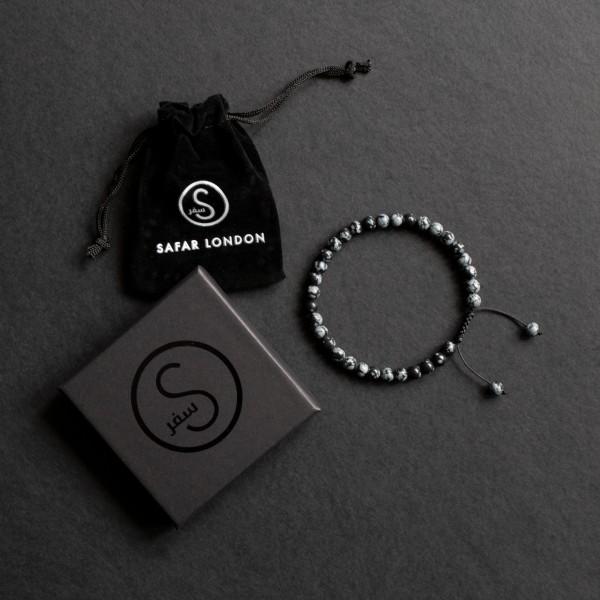 33 Bead Tasbih Bracelet - Grey Black Agate Stone