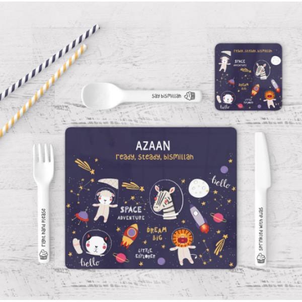 Placemat & Coaster Set - Ready, Steady Bismillah (Space)