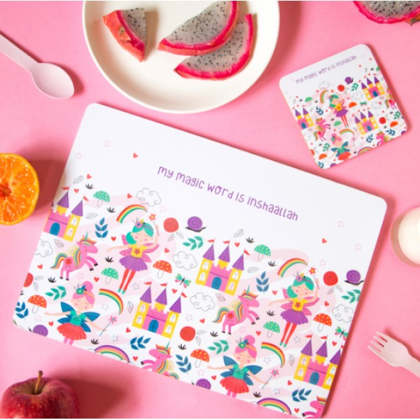 Placemat & Coaster Set - My Magic word is Inshallah Fairy