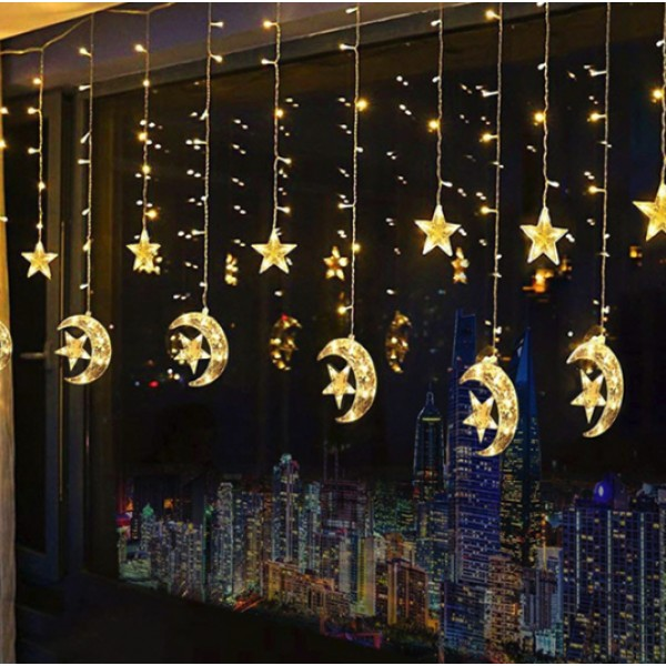 Ramadan Twinkle Moon & Star 138 LED String Lights set