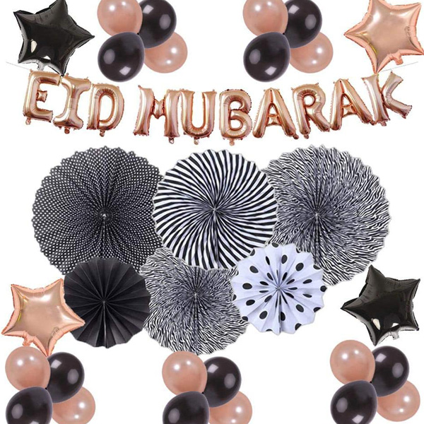 Rose Gold & Black 40pc EID MUBARAK Decoration set