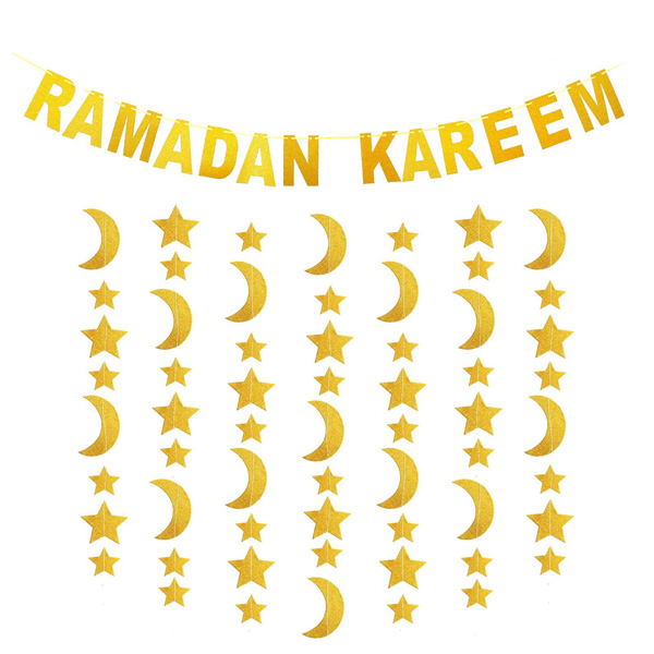 Ramadan Kareem Glitter Moon Star String Curtain Set