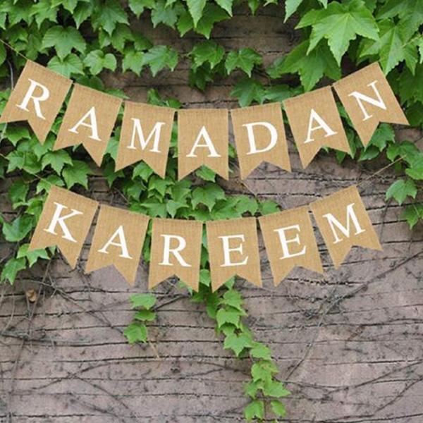 Ramadan Kareem Burlap Banner
