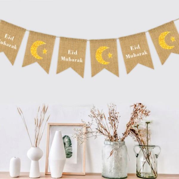 Duo Design Eid Mubarak Burlap
