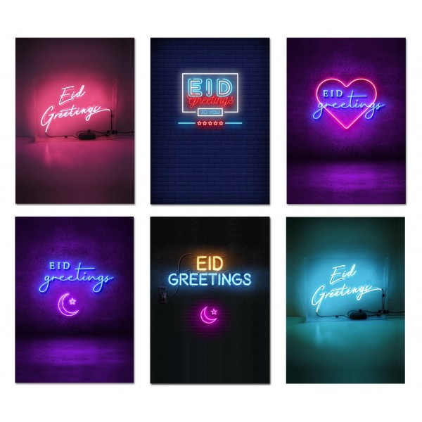 Cards - Multipack Eid Mubarak - 6 Neon Design (MPNL)