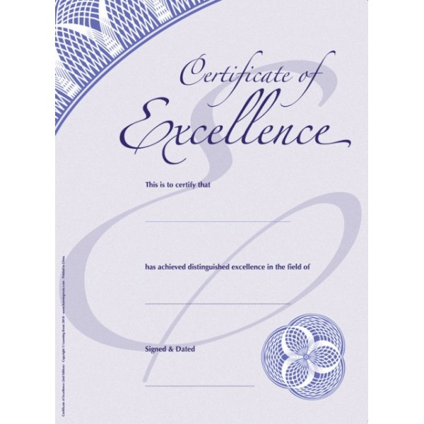 Certificate of Excellence (25 Pack - A4)