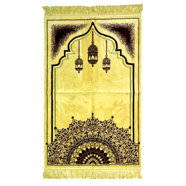 SafaTeks - Beige/Arabesques Soft prayer mat