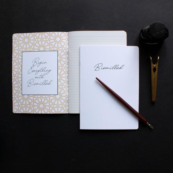 NoteBook A5 - White Bismillah Design