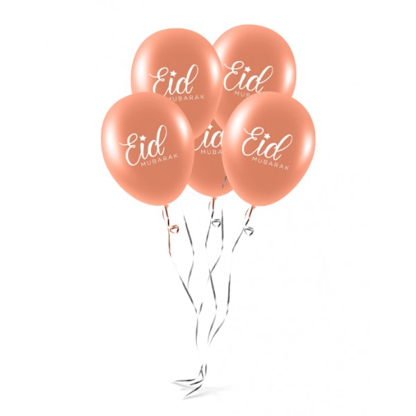 EID Mubarak Balloons (Pack of 10) - Rose Gold (MM)